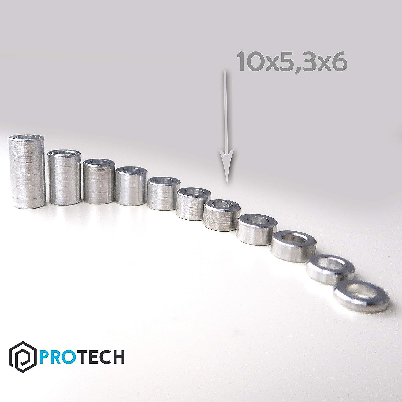 PROTECH 10 St/ück Distanzh/ülsen aus Aluminium 10x5,3x6 Alu H/ülsen Abstandsh/ülse Abstandhalter Rohrbuchse