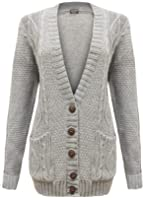 Cexi Couture - Gilet Femme Tricot Maille Bouton Style Grand-Père Cardigan Neuf - 36-42, Gris Clair