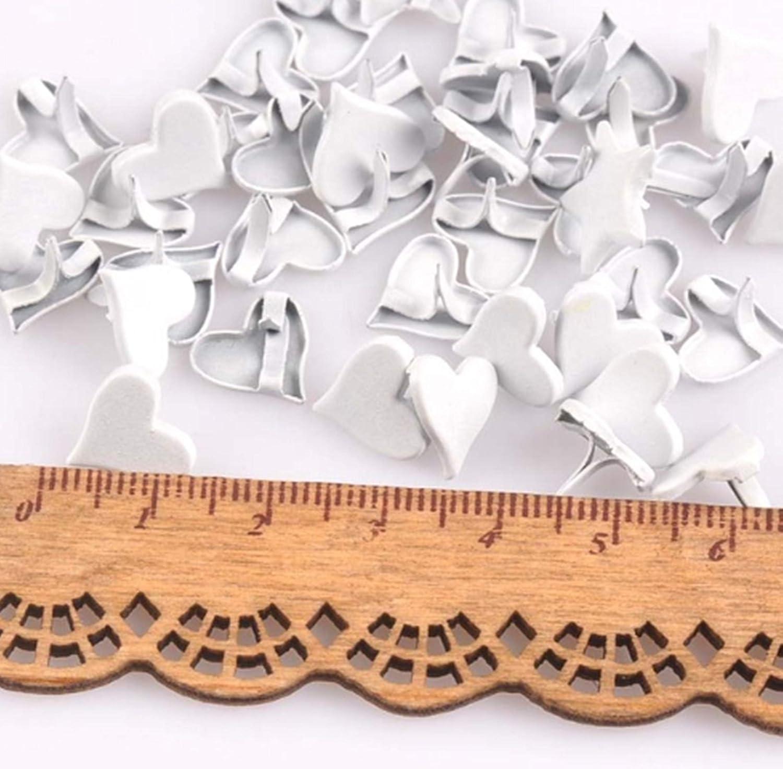 Mixed Colors Ava 150pcs Heart Fastener Brads Metal Paper Scrapbooking Card Making Art Craft DIY