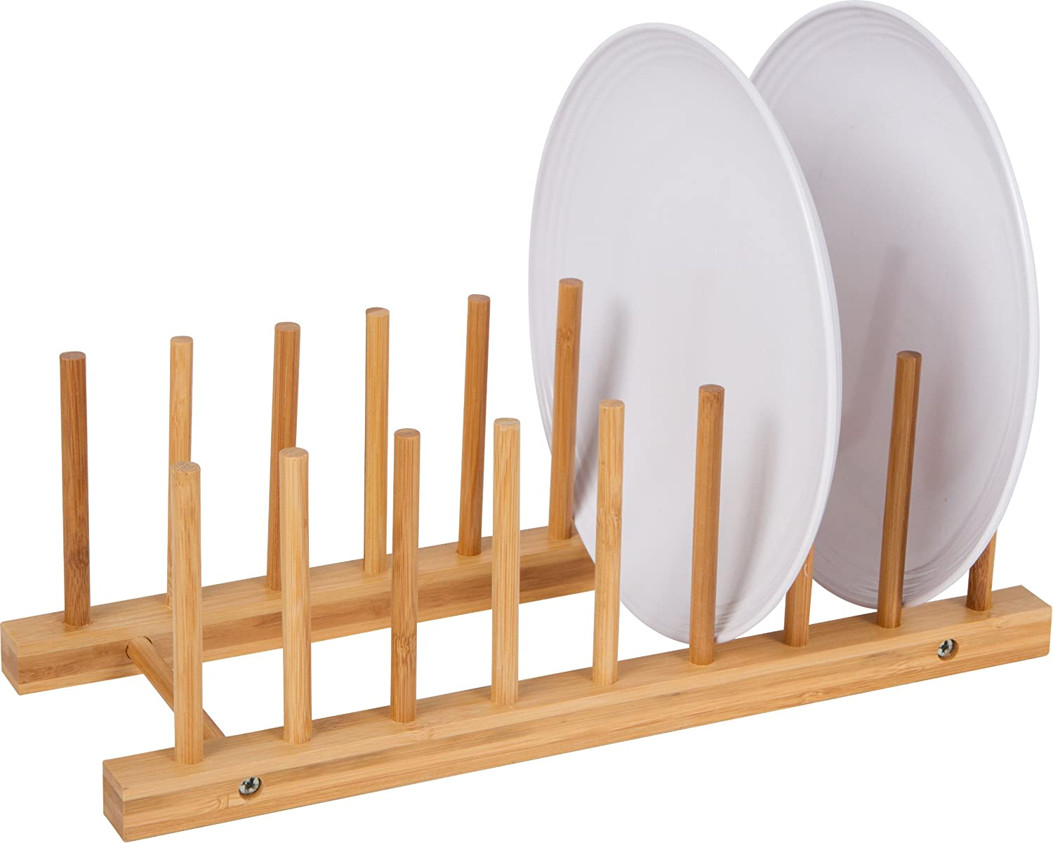 Amazon.com Multi-Purpose Bamboo Plate Holder and Pot Lid Organizer by Trademark Innovations Kitchen \u0026 Dining  sc 1 st  Amazon.com & Amazon.com: Multi-Purpose Bamboo Plate Holder and Pot Lid Organizer ...