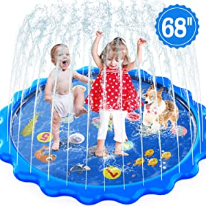 MOZOOSON Splash Pad for Kids Sprinkler Outdoor Inflatable Water Toys for Toddler Kids ab 1 Year Old, Slip n Slide for Girls Boys Dogs 0.5mm Thickness,Outside Wading Pool for Learning Toys