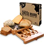 Cheese Board and Knife Set - 5-Piece Set Includes Cheese Slate, 4 Stainless Steel Cheese Knives, Removable Slide-Out Drawer - Natural Oak Cheese/Cracker Platter - Ideal Present Set - by Utopia Kitchen