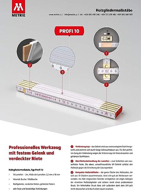 10 x Qualitäts Zollstöcke 2m Weiß Zollstock Meterstab Germany Meterstäbe Hultafo