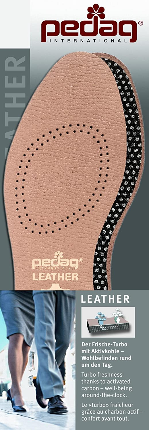 Pedag 110 Flat Leather Insole with Effective Active Carbon Filter for Odor Control, Tan, 1.5 Ounce by Pedag