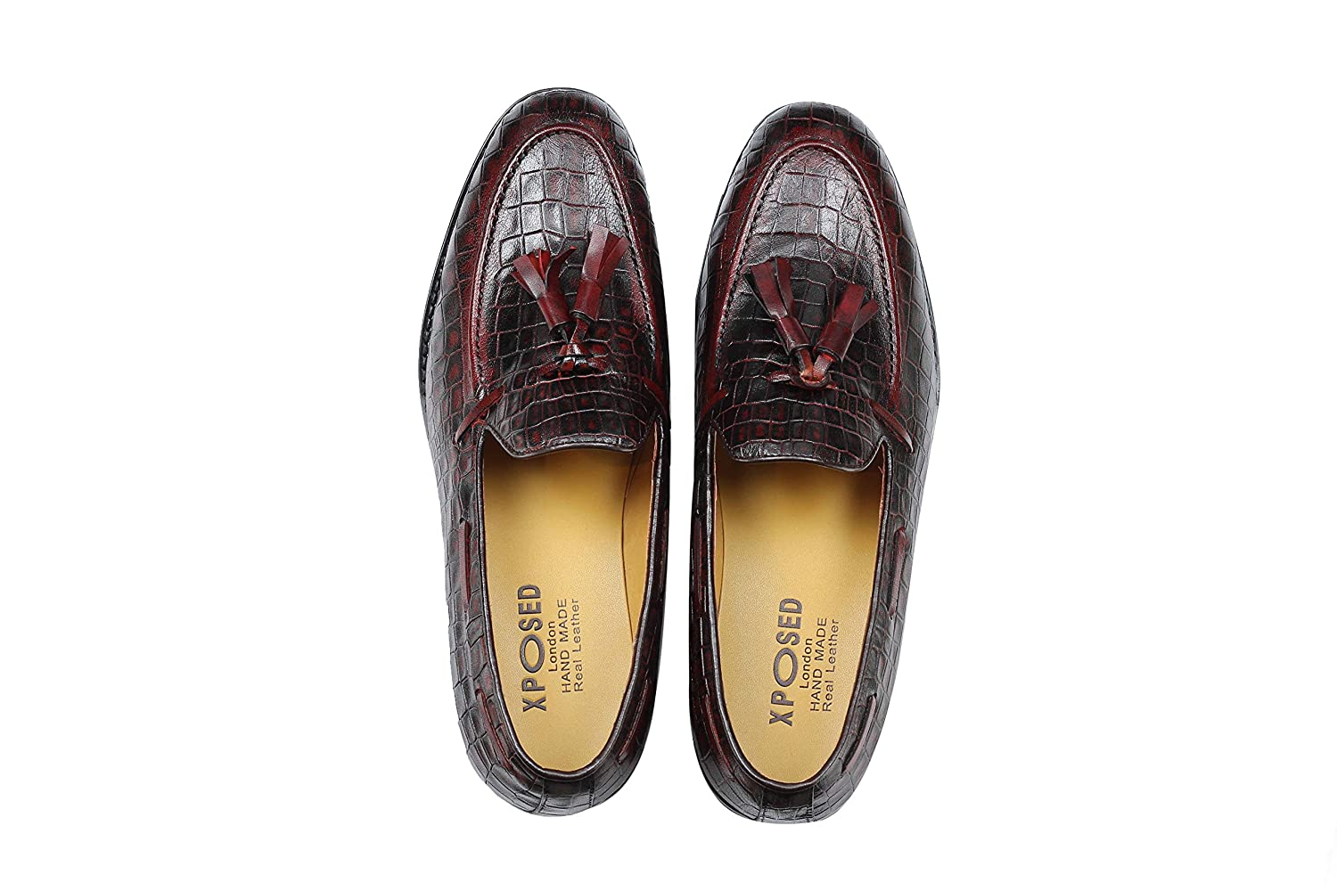 d469a76ac62 Xposed Mens Woven Look Real Leather Red Maroon Tassel Loafers Smart Casual  Formal Slip on Dress Shoes  Amazon.co.uk  Shoes   Bags