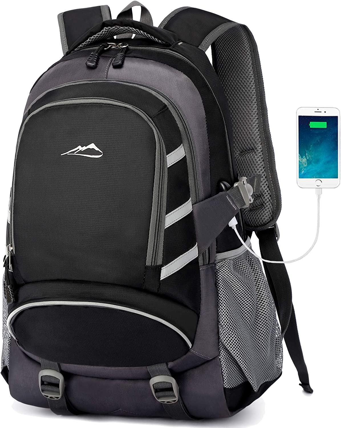 Backpack For School Student CollegeBookbag Business Travel with USB Charging Port Fit Laptop Up to 15.6 Inch Chest Luggage Straps Night Light Reflective (Black)