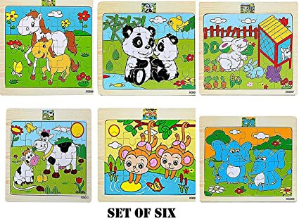 Babytintin Wood Jigsaw Puzzles for Small Children Kids (20 Pieces, 18x15cm, Pack of 6)