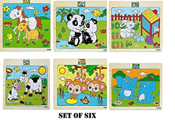 BestBuyToy Animal Wodden Colorful Puzzle 6 Set (6 Different Puzzles) Wooden Jigsaw for Small Kids