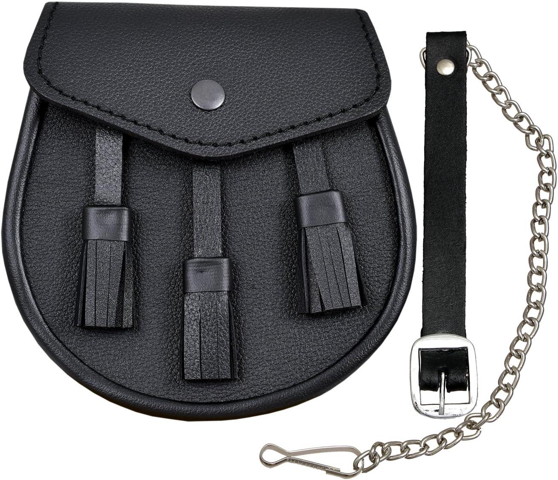 Scottish Black Leather Kilt Sporran And Belt 3 Tassels Leather Sporran By Shyne Kilts U K Küche Haushalt
