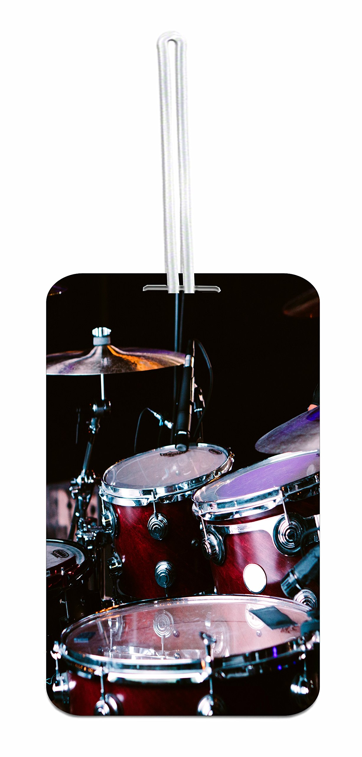Drums Hard Plastic Luggage Tag with Personalized Back