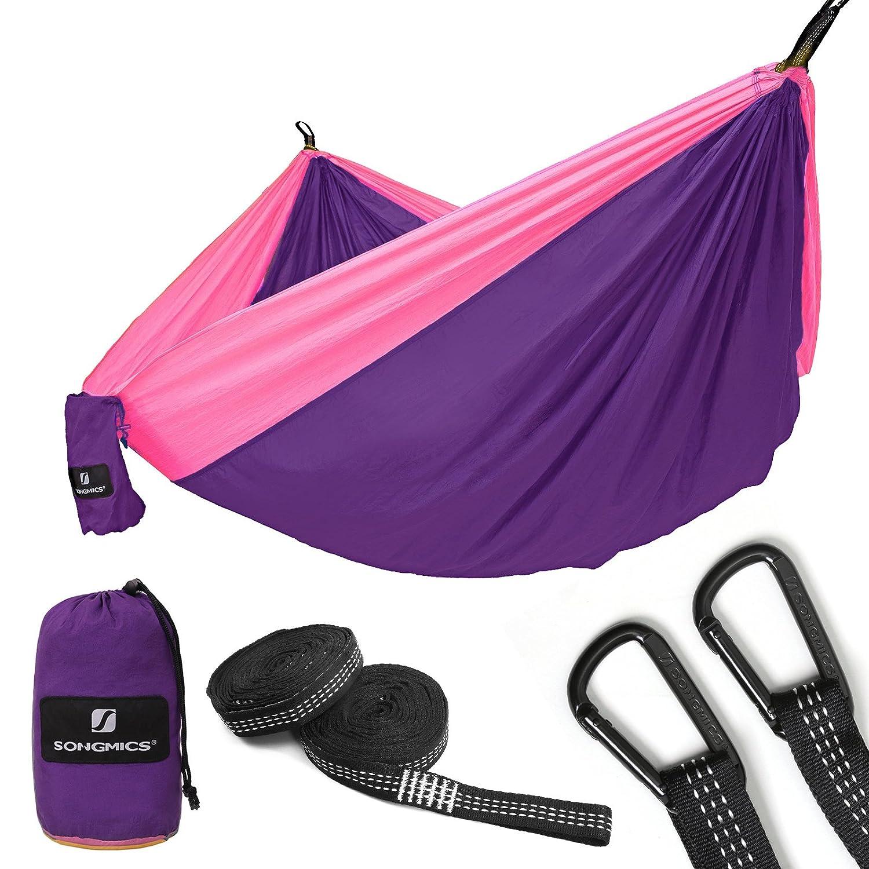 "Songmicsキャンプダブルパラシュートナイロンハンモック超軽量&ポータブルスイングベッド118 "" x 78 "" Hold Up To 660lbのアウトドアバックパッキング、ハイキング、ビーチ、ヤード、旅行 B0787SH49K purple and pink purple and pink"