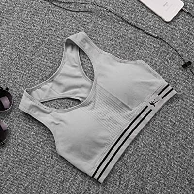 Gugutogo Femmes Seamless Racerback Sports Bra Top Yoga Fitness Rembourré Stretch Workout (Couleur: gris)