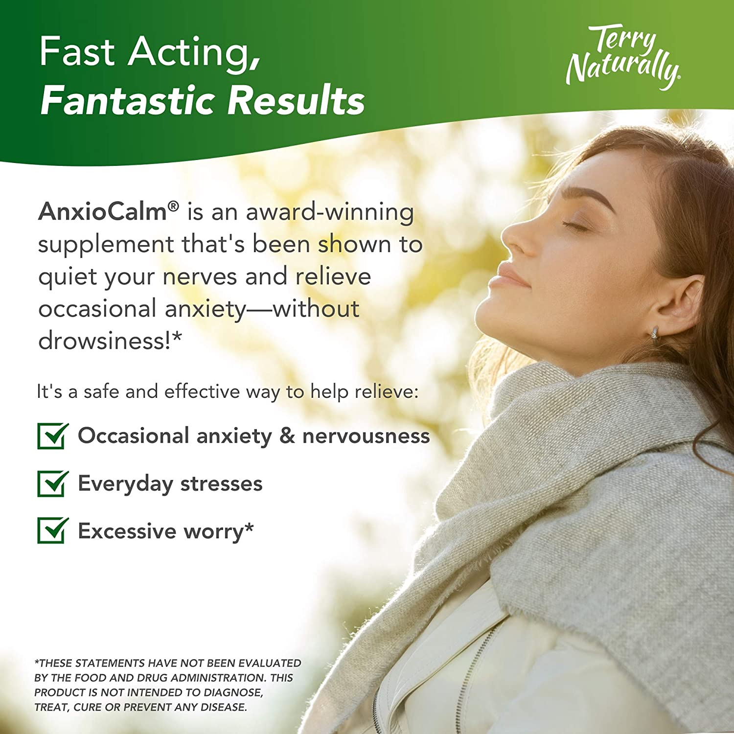 Terry Naturally AnxioCalm - 40 mg Echinacea Angustifolia, 45 Tablets - Non-Addictive Anxiety & Stress Relief Supplement, Non-Drowsy - Non-GMO, Gluten-Free - 22 Servings