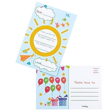 Amazon.com: Tarjetas postales de agradecimiento para niños ...