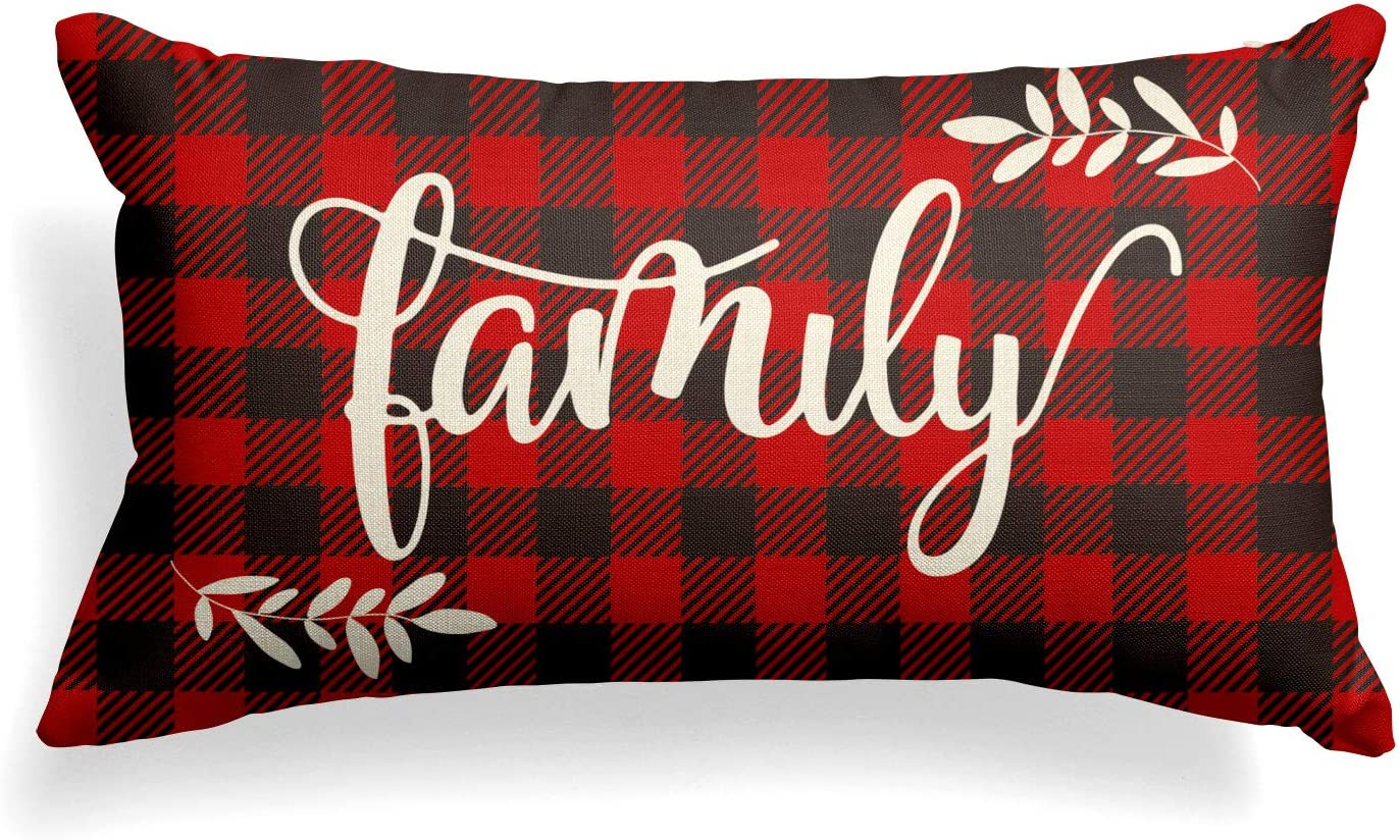 AVOIN Christmas Family Pillow Cover Buffalo Plaid, 12 x 20 Inch Winter Holiday Cushion Case Decoration for Sofa Couch