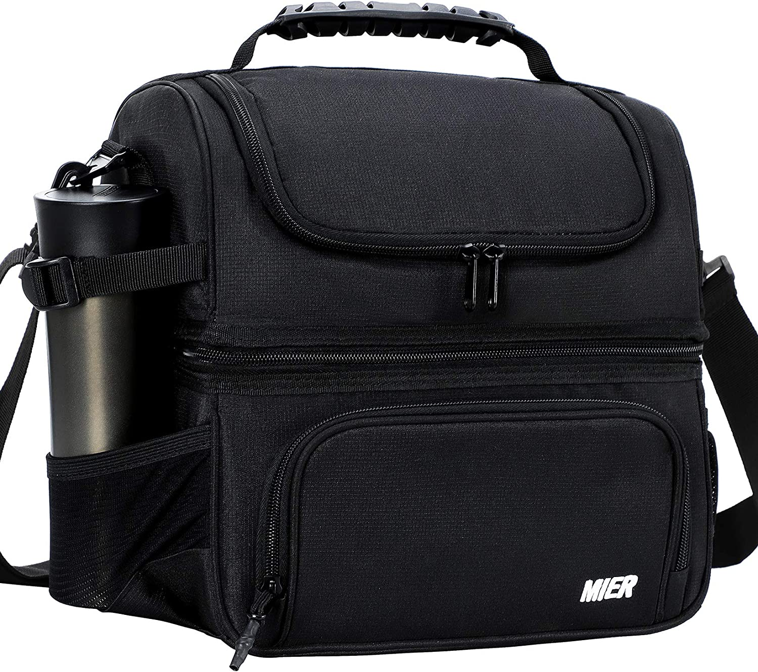 MIER Dual Compartment Lunch Bag Tote with Shoulder Strap for Men and Women Insulated Leakproof Cooler Bag, Black