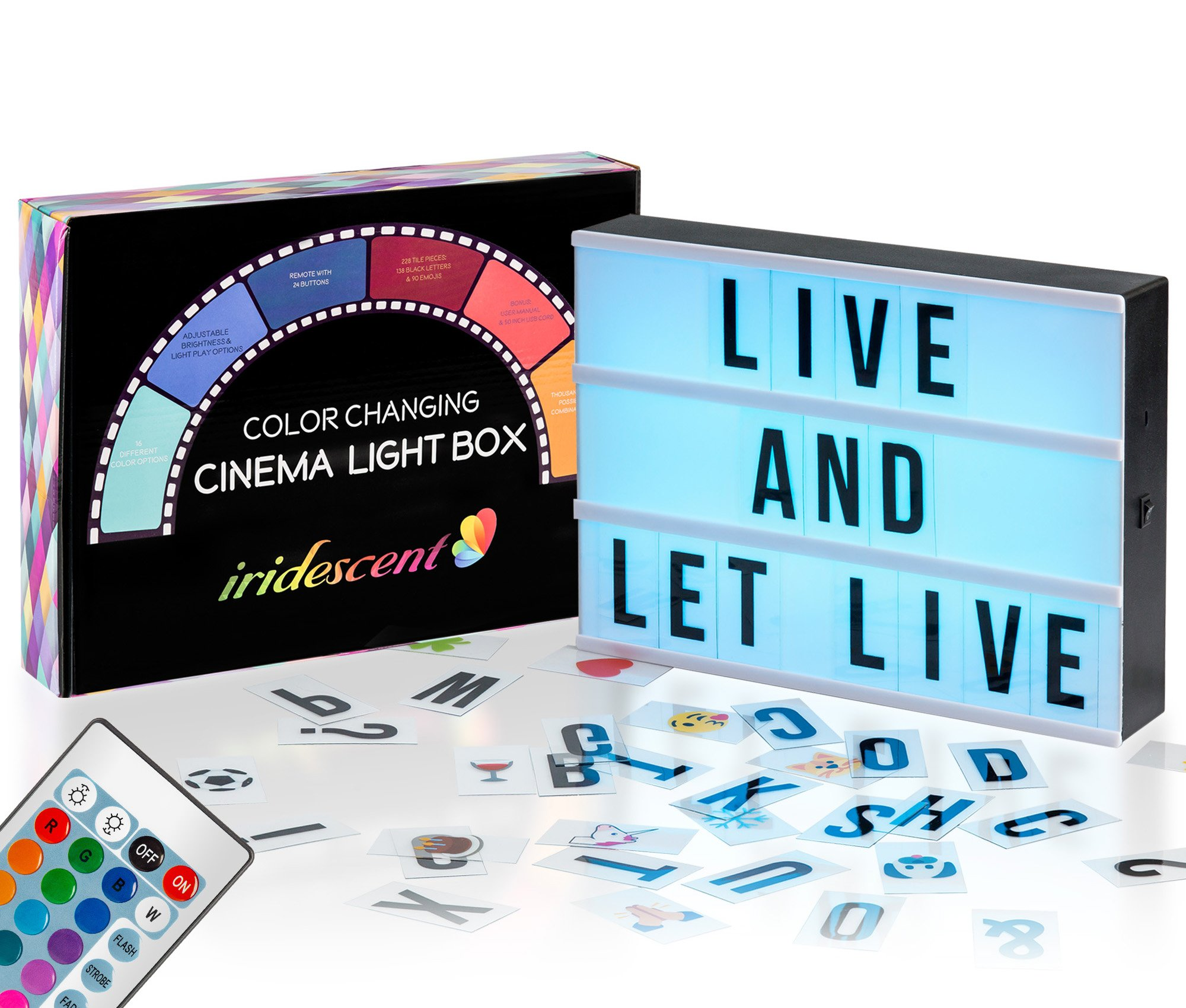 Color Changing Cinema Light Box with Letters - 228 Total Letters, Numbers & Emojis | 16 Colors Remote-controlled PREMIUM Cinematic Marquee Sign Light Box | NEW for 2018! LED Light Up Letter Box Sign by Iridescent