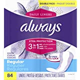 Always Xtra Protection 3-in-1 Daily Liners Regular, 336 Count, Unscented, (4 Packs of 84 - 336 Count Total)