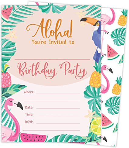 Hawaiian Aloha HI Maui Tropical Style 2 Happy Birthday Invitations Invite Cards (25 Count) With Envelopes and Seal Stickers Vinyl Boys Girls Kids ...