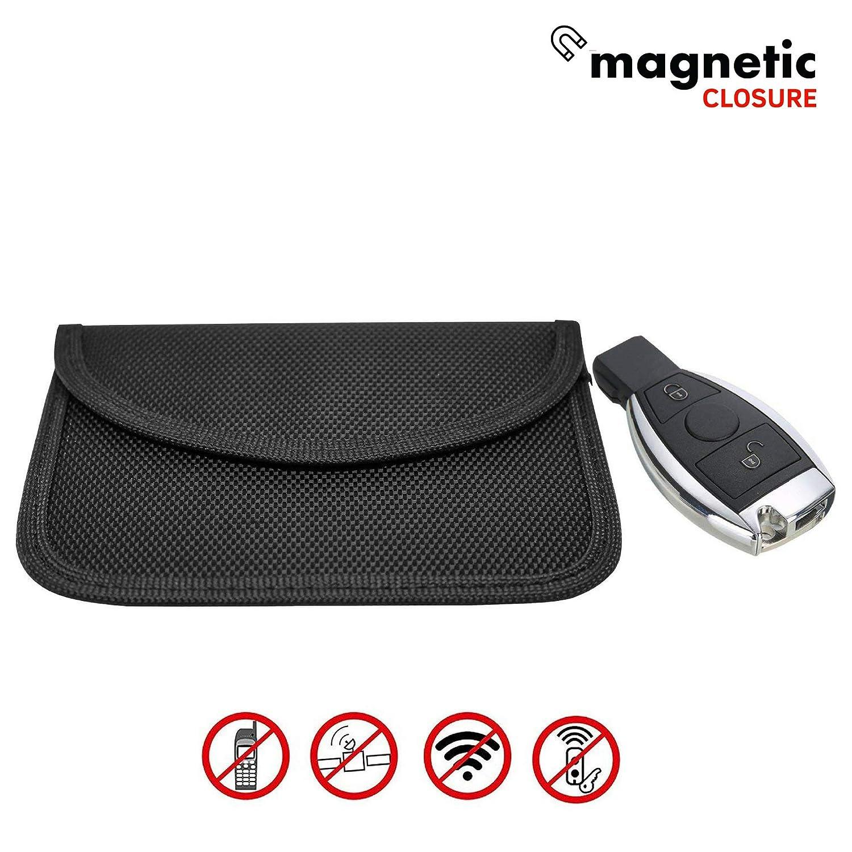 Secura - Bolsa de bloqueo de señ al RFID para llaves de coche, funda Faraday para el blindaje de llave, dispositivo de bloqueo de señ al, cierre magné tico, grande, color negro, negro, Horizontal dispositivo de bloqueo de señal