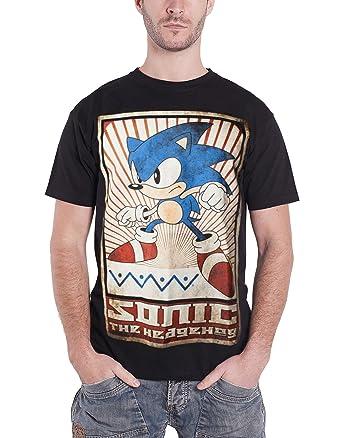 Sonic The Hedgehog T Shirt Vintage Print Official Sega Mens Black L