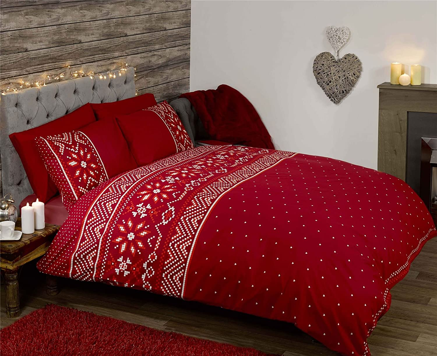 CHRISTMAS SNOWFLAKE HEARTS RED WHITE CANADIAN QUEEN SIZE (230CM X 220CM - UK KING SIZE) COTTON BLEND DUVET COVER Duvet Cover Set