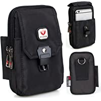 VIIGER Multipurpose Vertical Nylon Smartphone Pouch with Belt Loop Cell Phone Holster Belt Pouches for Men Waist Bag Pack Carry Pouch for iphone 7 Plus Samsung Galaxy S8 Plus