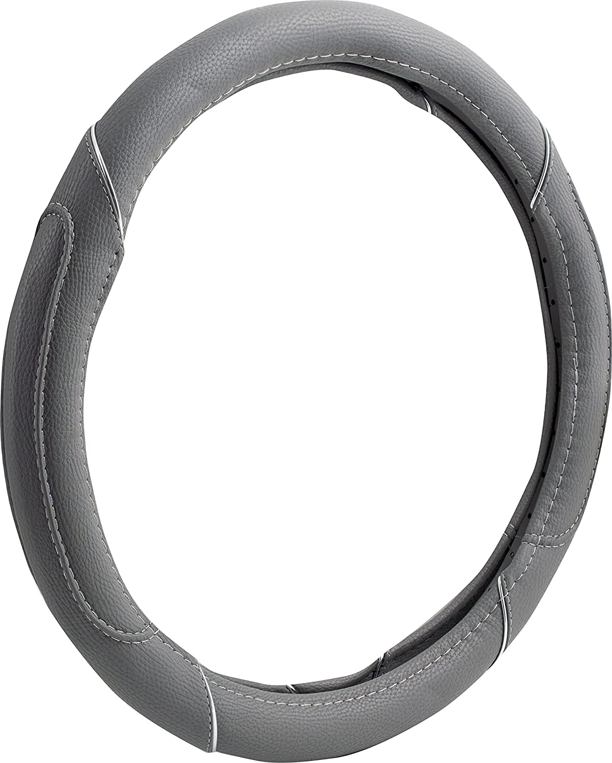 Custom Accessories 38661P Distressed with Chrome Accents Black Steering Wheel Cover Custom Grip