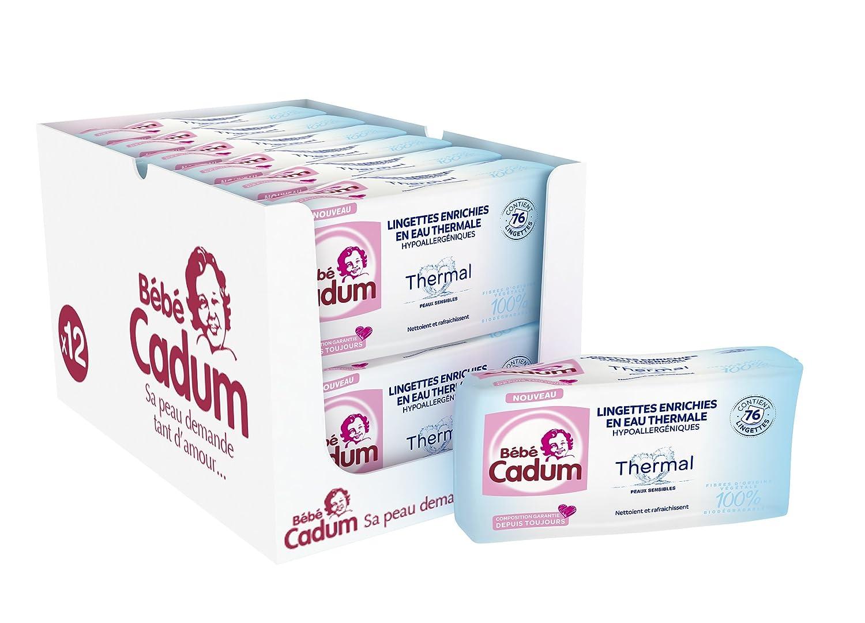 Cadum Bébé Lingettes Hypoallergéniques Thermal Enrichies en Eau Thermal pour Bébé - 912 Lingettes (12 lots de 76) Bébé Cadum 3600550963465