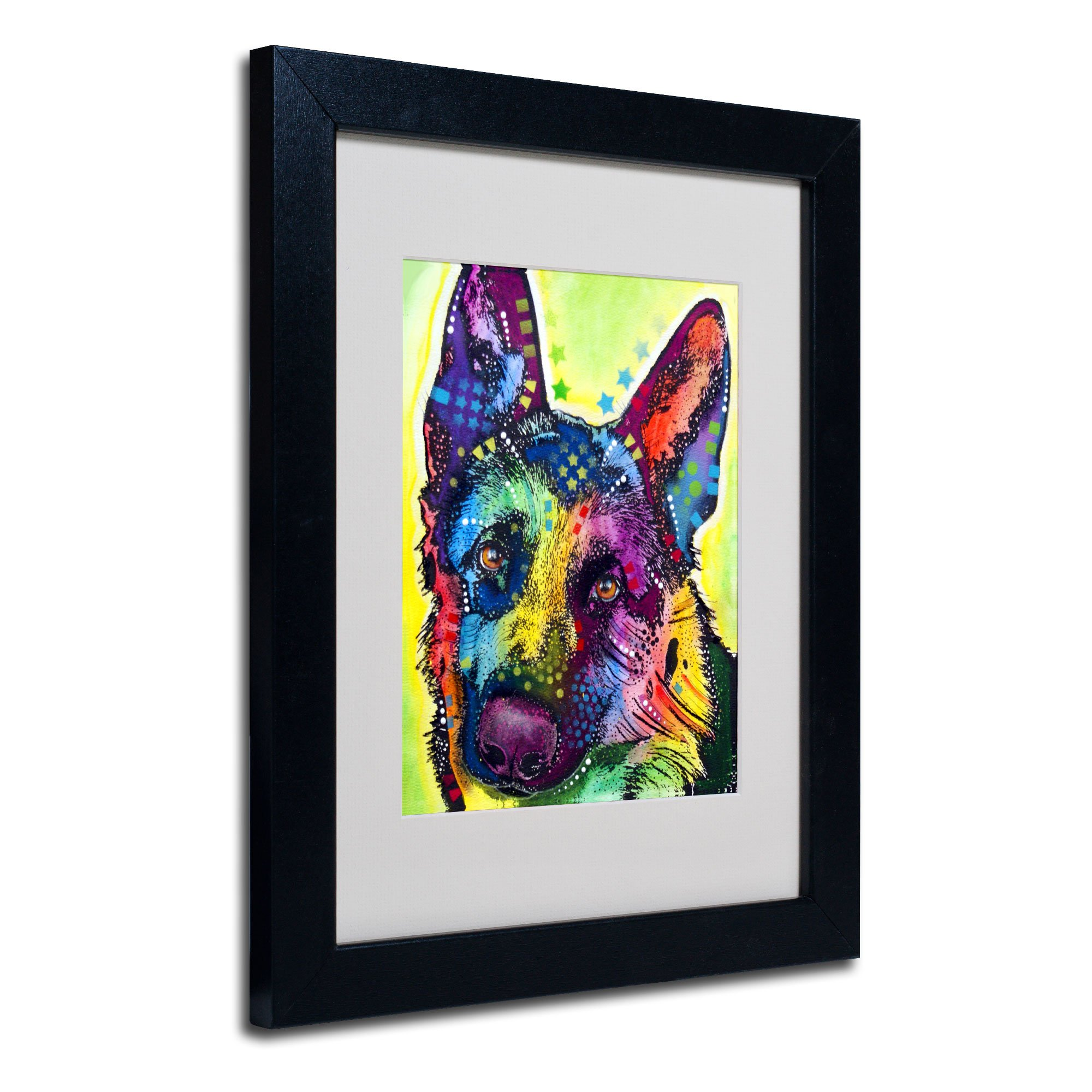 German Shepherd Matted Artwork by Dean Russo with Black Frame, 11 by 14-Inch