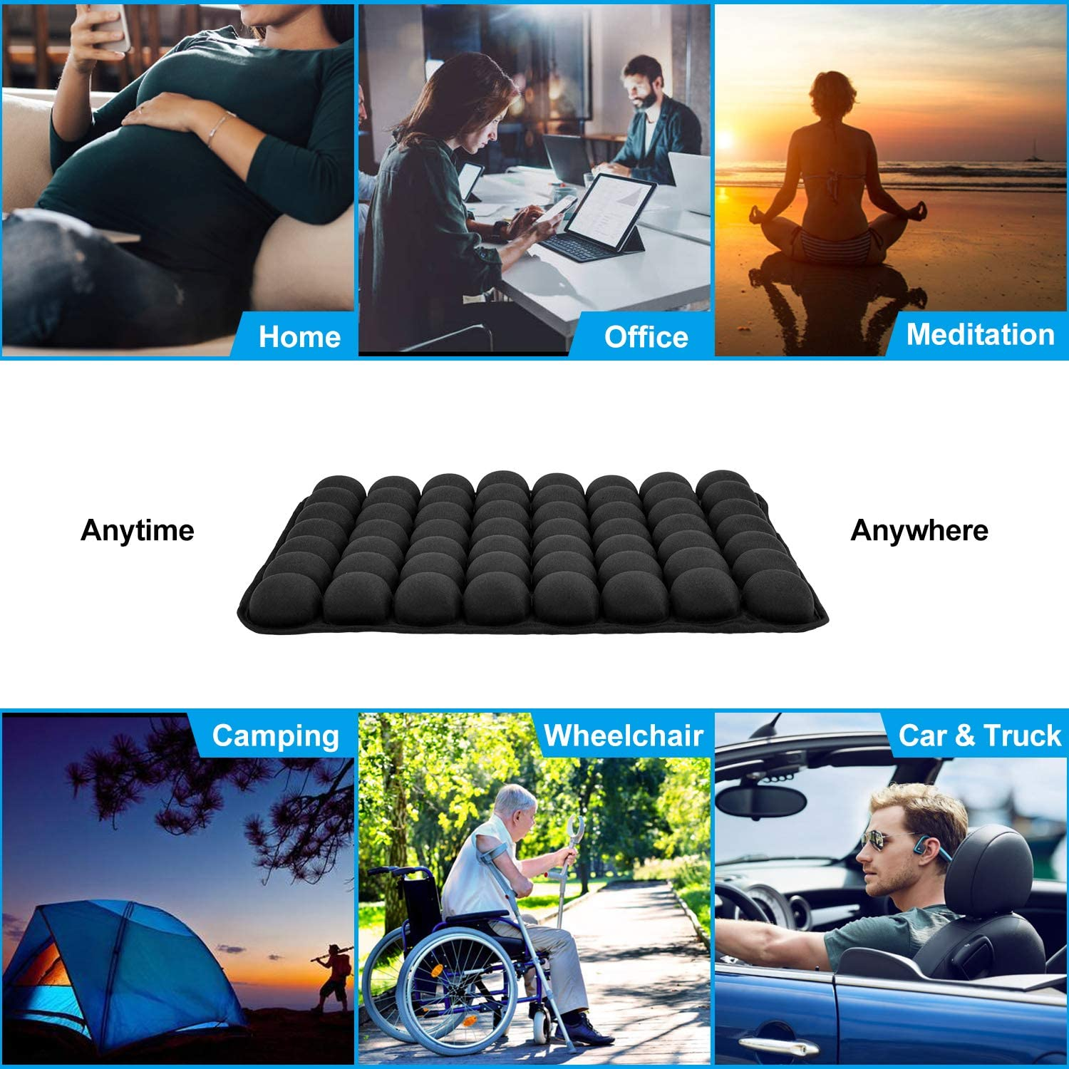 CICMOD Car Seat Cushion Universal Black Air Pad Stress Relief Seat Protector for Car Home Office Chair Wheelchair
