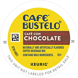 Café Bustelo Café con Chocolate Flavored Espresso Style Coffee, 96 K Cups for Keurig Coffee Makers