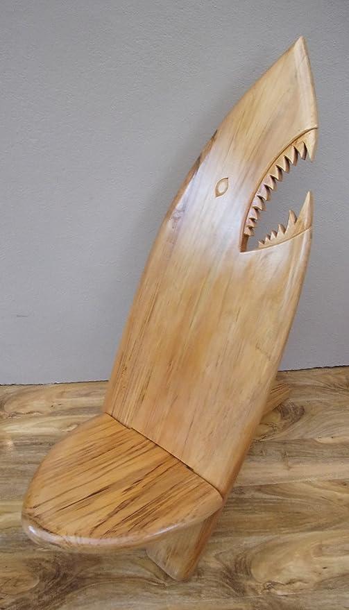 Plantation Designs Silla de Tabla de Surf tiburón Inusual Hecho a Mano de Madera Maciza Muebles