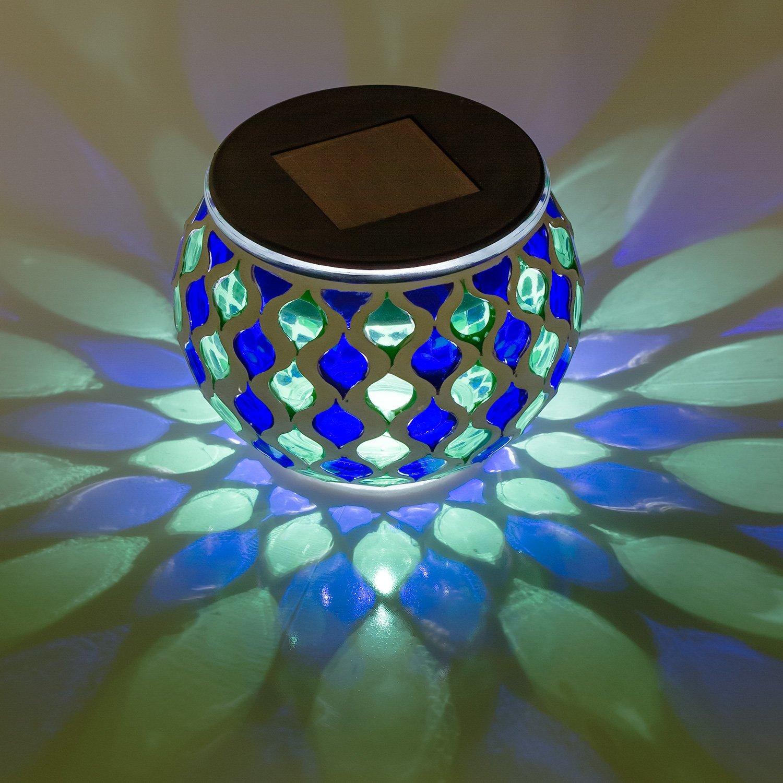 Dawhud Direct Mosaic Solar Glass LED Table Lights