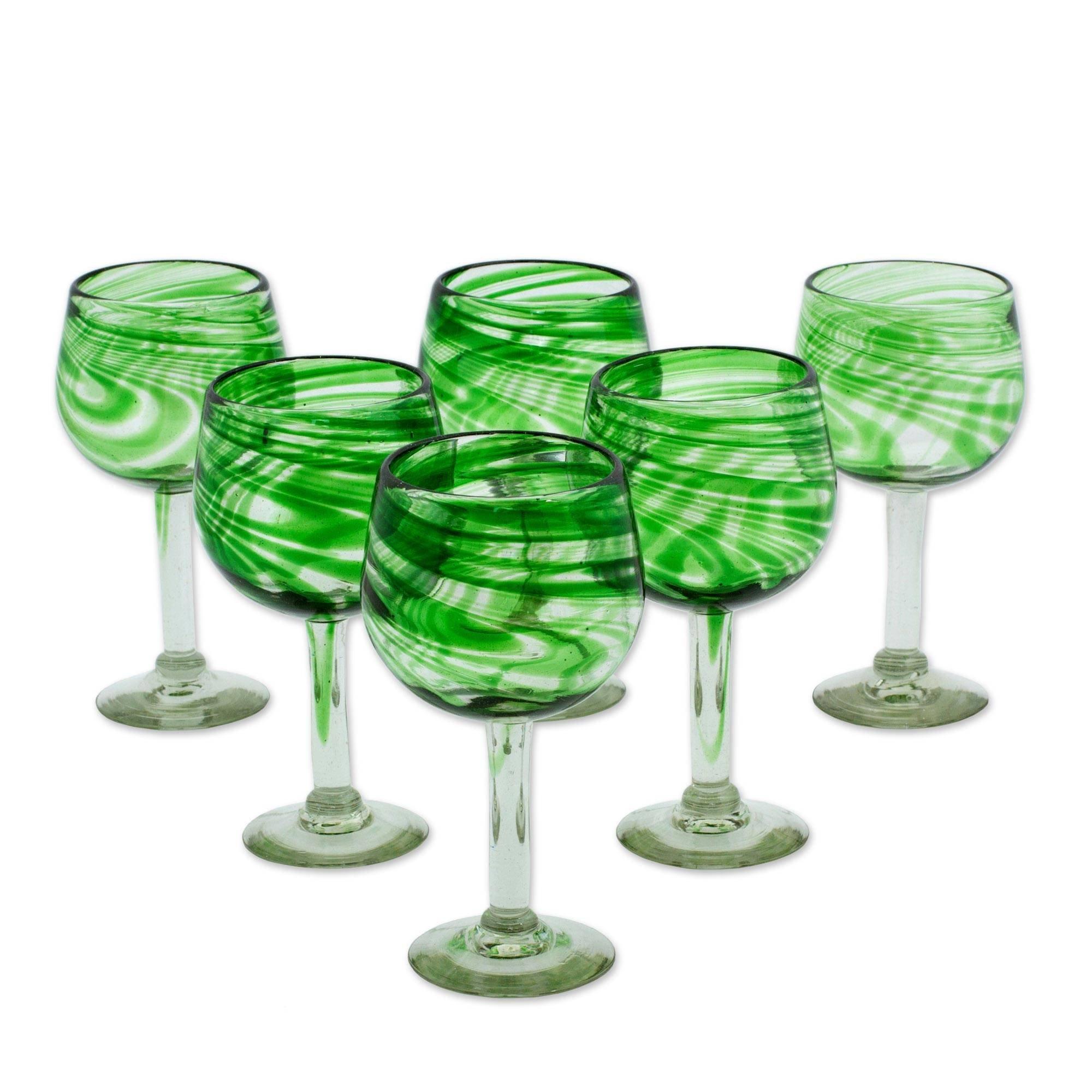 NOVICA Hand Blown Clear Green Glass Wine Glasses, 13 oz, Emerald Essence' (set of 6)