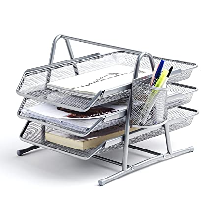Premium Silver Document Tray With Pen Holder | Stackable Desk Organizer  Trays | Letter Organizer |