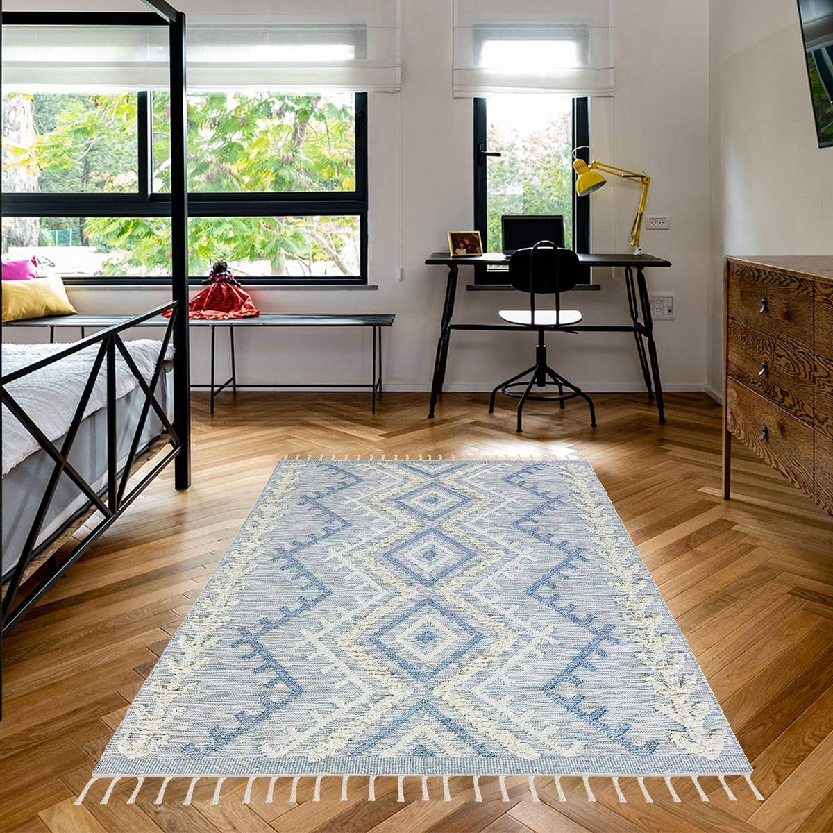 We Rugs Beautiful Area Rugs for Living Room Decor, Modern Geometric Handmade Area Rug,Soft Blue 5 x 8
