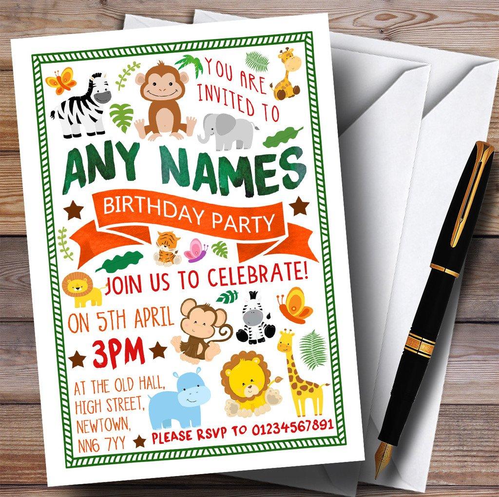 Jungle Animals Childrens Birthday Party Invitations