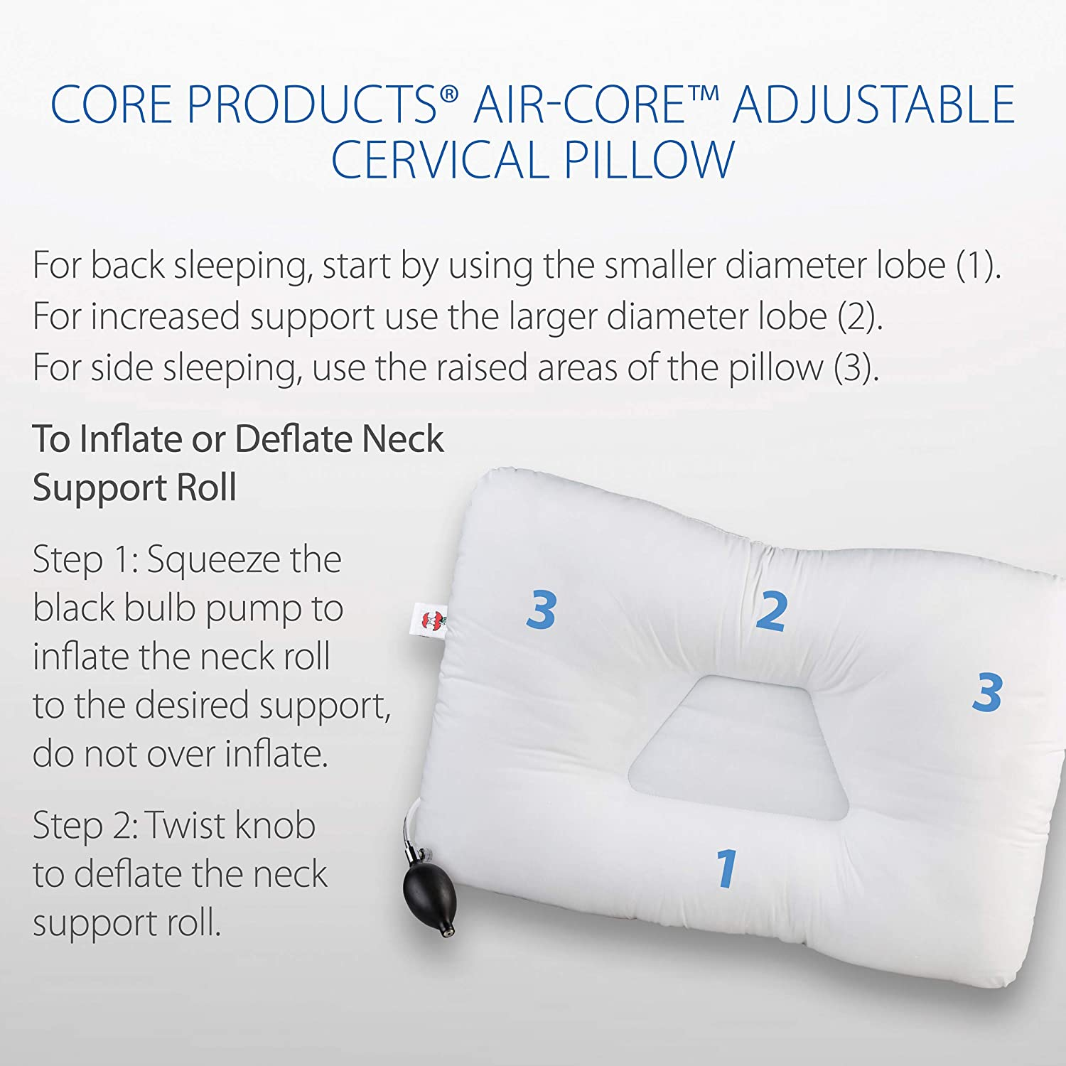 Core Products Air Core Adjustable Cervical Support Pillow FIB-204