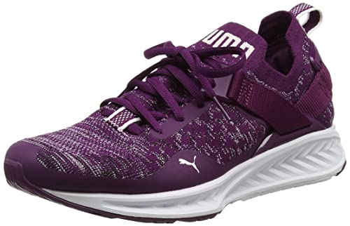 Puma Ignite Evoknit Lo, Scarpe Sportive Outdoor Donna, Viola (Dark Purple-White-Black), 41 EU