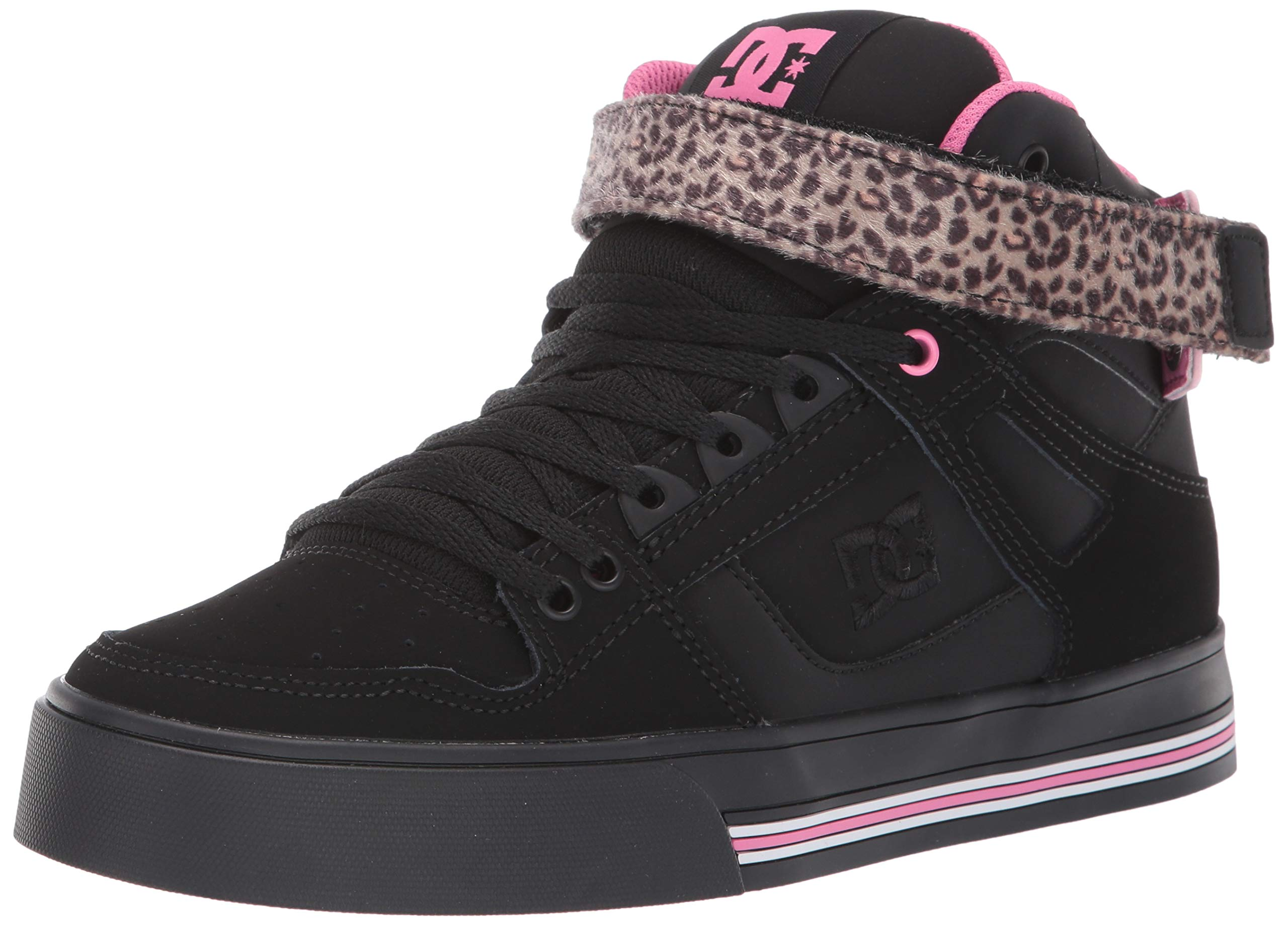 DC Women's Pure HIGH-TOP V Skate Shoe, Pink/Black, 8 M US by DC