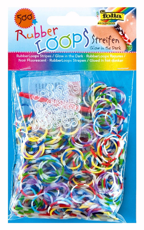 inklusive 25 S 500 Gummib/änder Clips und 1 H/äkelnadel Rubber Loops Streifen Glow in the dark folia 339569