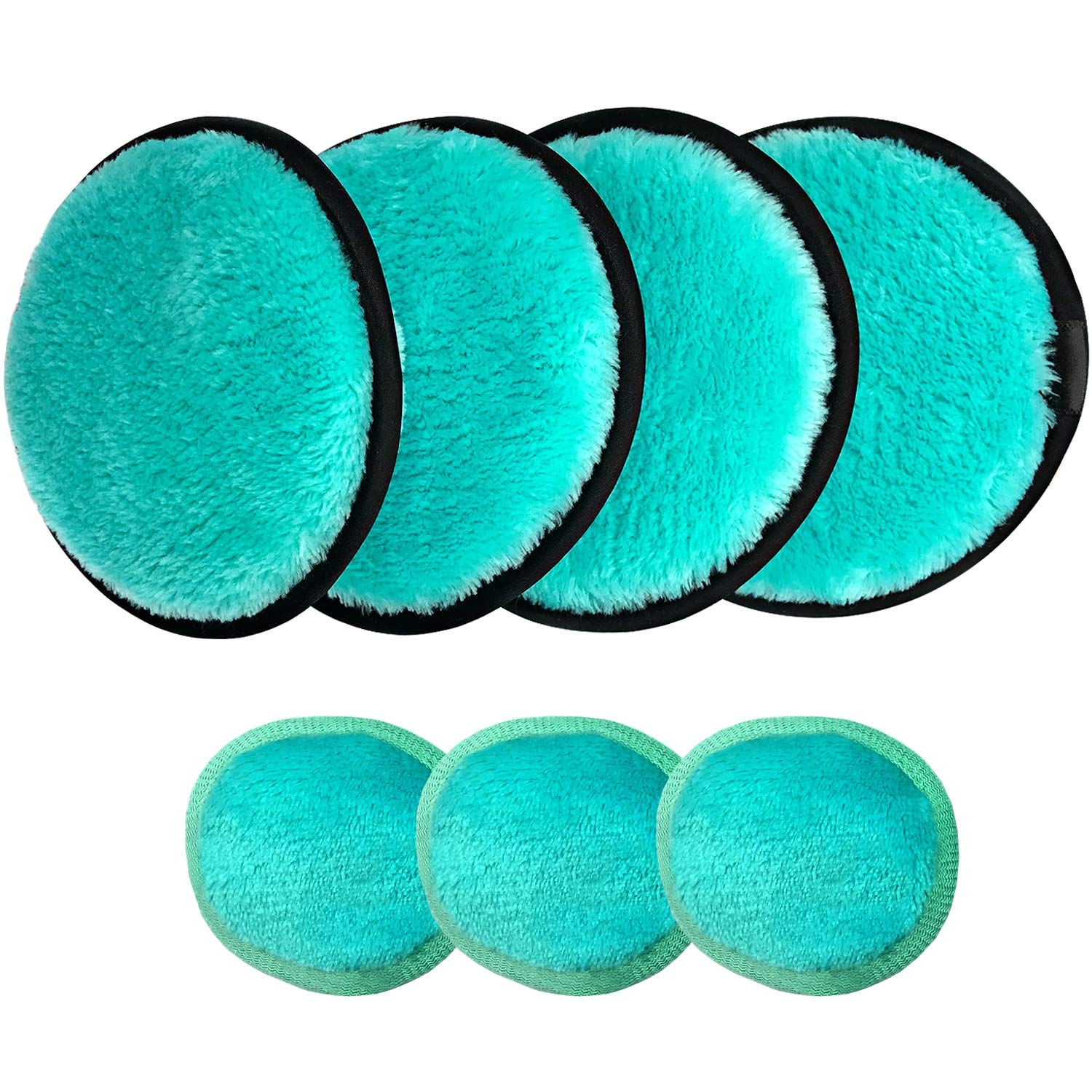MARY LAVENDER Multifunctional Makeup Remover Pads for Face Eyes 7 Pack, Washable Reusable Face Cleansing Wipes Pads, Makeup Removing Sponges, Exfoliating Massage Face