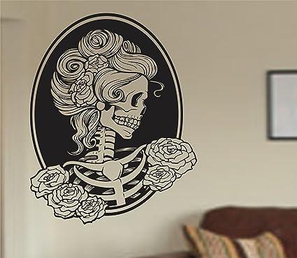 Dabbledown Decals Victorian Woman Skull Wall Vinyl Decal Sticker Art  Graphic Sticker Sugar Skull Sugarskull