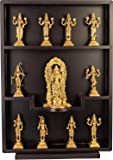 Aone India Lord Vishnu and His Ten Incarnations - Brass and Wood