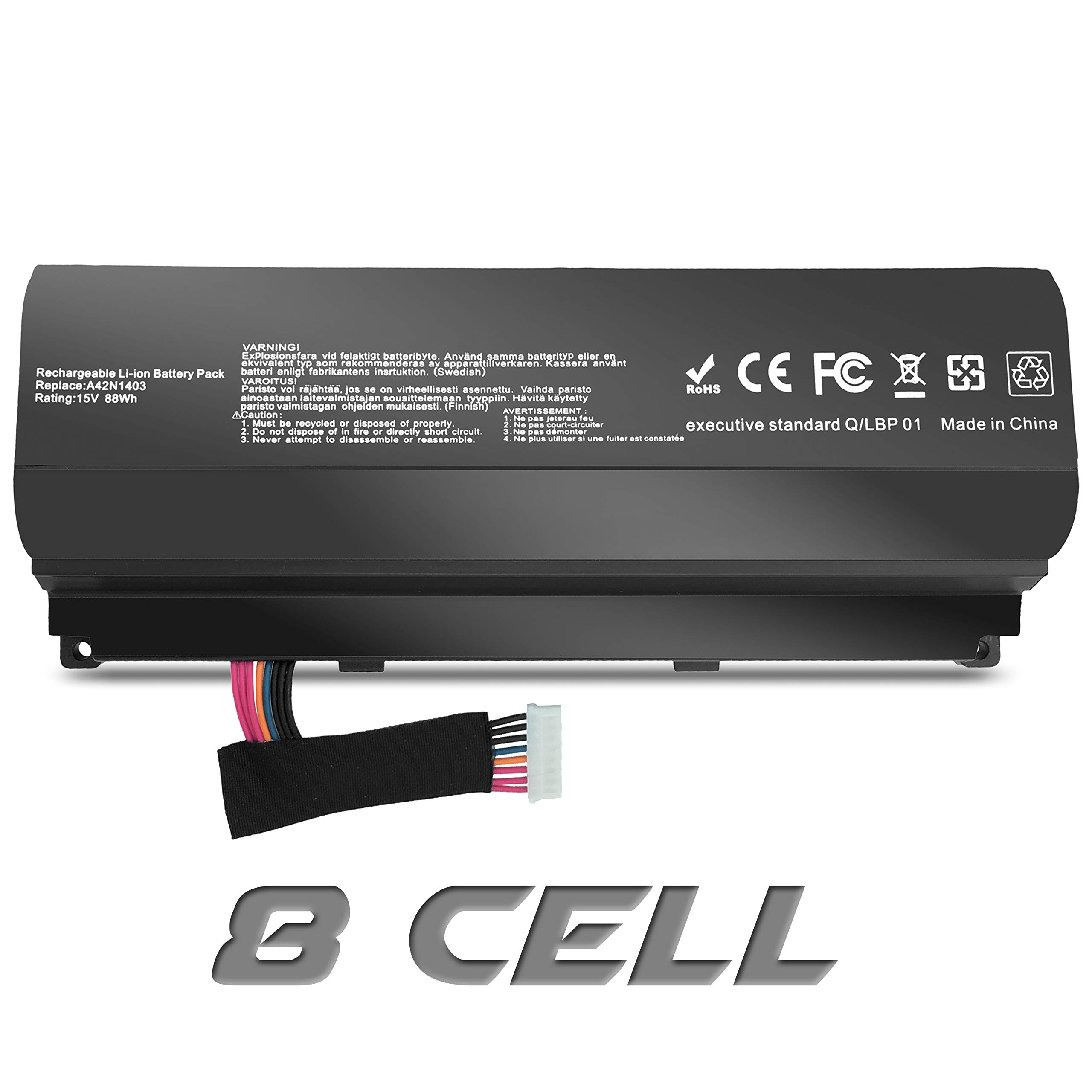 A42LM93 A42N1403 Laptop Battery Replacment for ASUS ROG G751J-BHI7T25 G751JY G751JT G751JM G751JL G751J G751 GFX71JT GFX71JM GFX71JY GFX71JY4710 GFX71JY4860 【15V 88Wh】