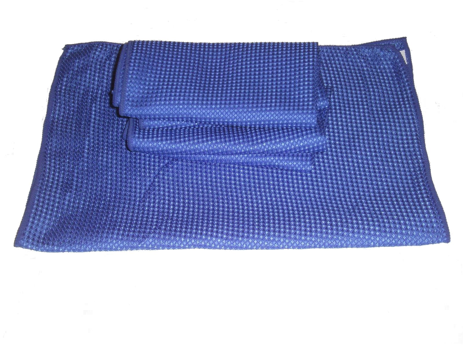 3 Pack of Blue 16'' By 24'' Waffle Weave Microfiber Towels_6 Square Feet of Professional Quality Towels Plus One Blue All Purpose Microfiber Towel.