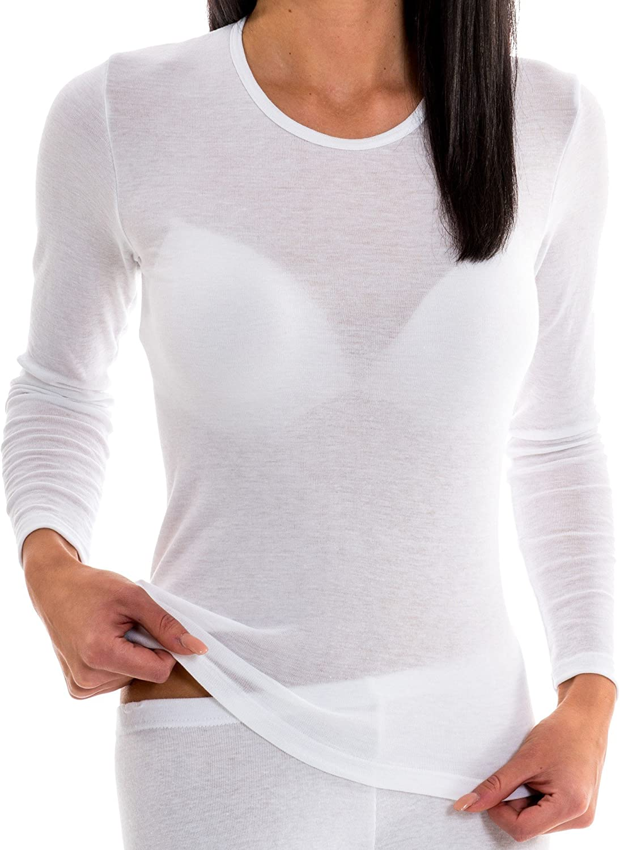 HERMKO 17830 Confezione da 2 Maglietta da Donna a Manica Lunga in Cotone//Modal