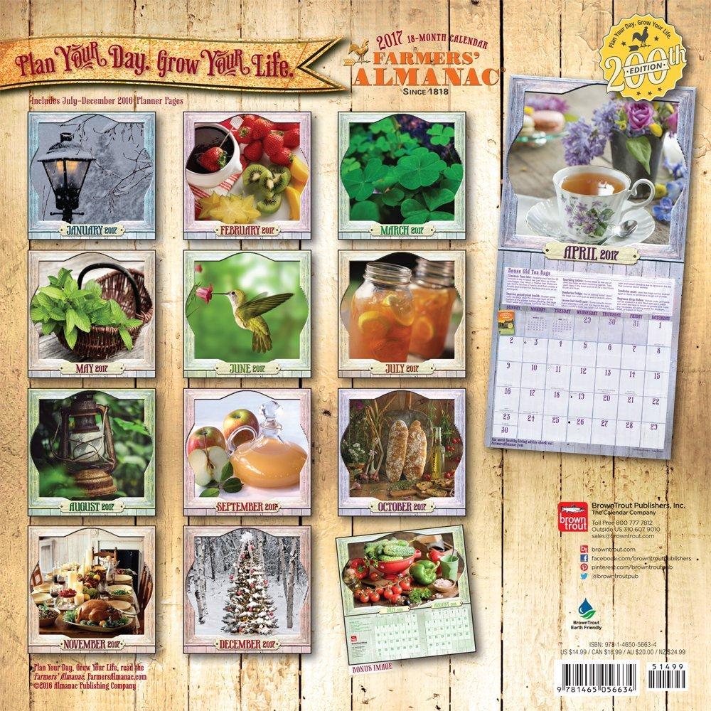 Farmers' Almanac 2017 12 x 12 Inch Square Wall Calendar - Weather, Lore,  Wisdom and More: 9781465056634: Amazon.com: Books