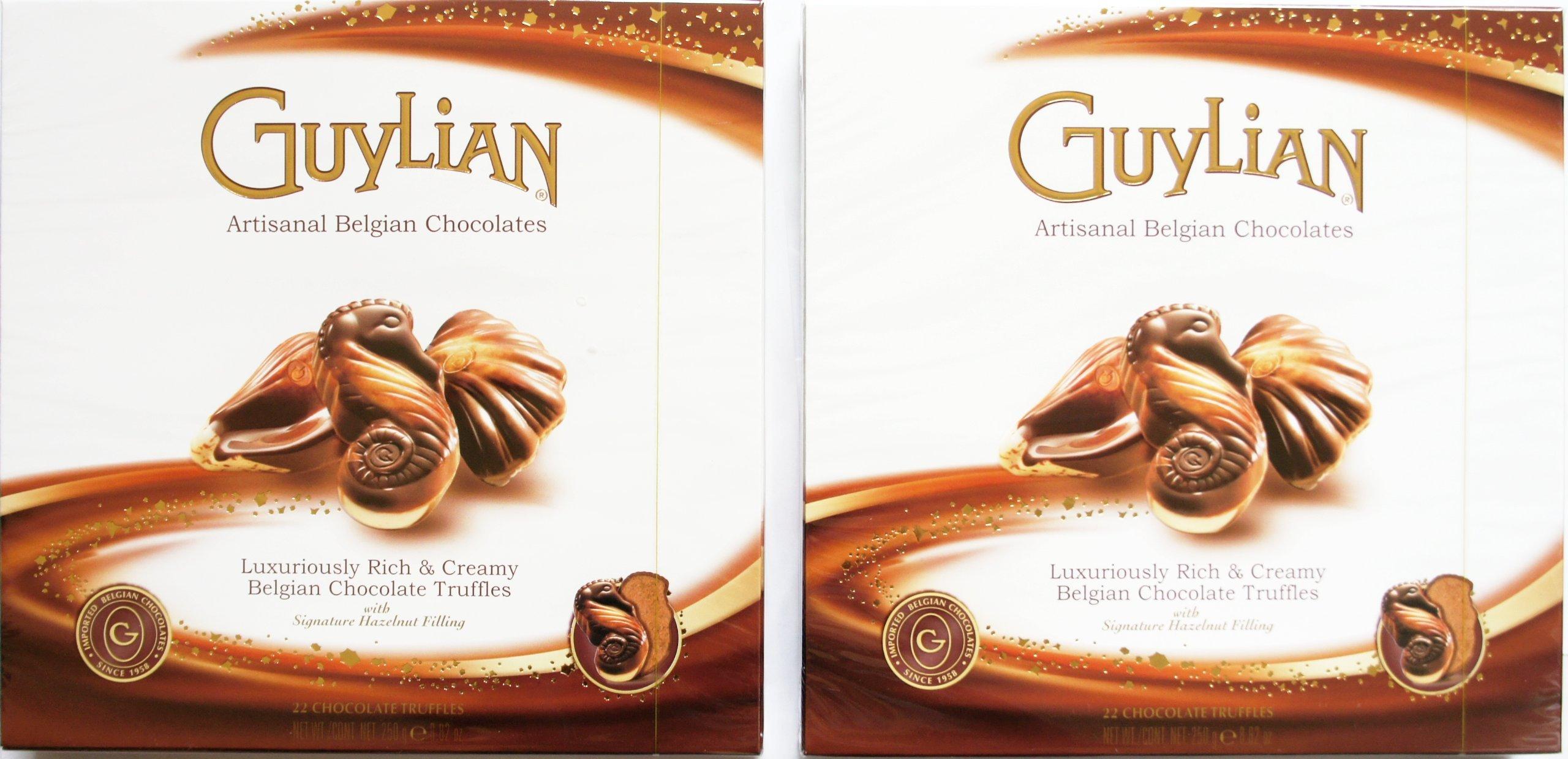 GUYLIAN Artisanal Belgian Chocolates Truffles with Hazelnut Filling 2-Pack of 250 g (8.82 OZ) on Each box with NET WT 500 g (17.64 OZ)